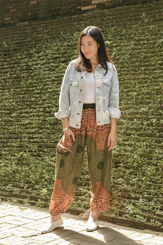 Lofbaz Boho Pantalons Femmes Taille Smock/ée Floral E/él/éphants Funky Harem Pants