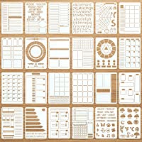 24 Pieces Productivity Stencil Journal Stencil Plastic Planner DIY Drawing Template for Time Saving Planner, Calendars…