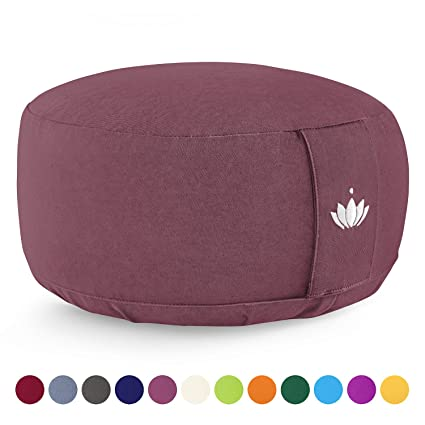 Lotuscrafts Cojin Meditacion Yoga Lotus - Altura 15 cm - Relleno de Espelta - Cubierta en Algodon Lavable- Zafu Meditación - Cojin Suelo Redondo - ...