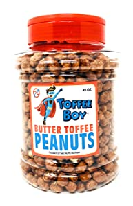 Toffee Boy's Butter Toffee Peanuts - 45 Oz Jar - Family Recipe, Fresh and Hand Cooked, Gluten Free, Real Ingredients, No Preservatives, GREAT Father's day gift