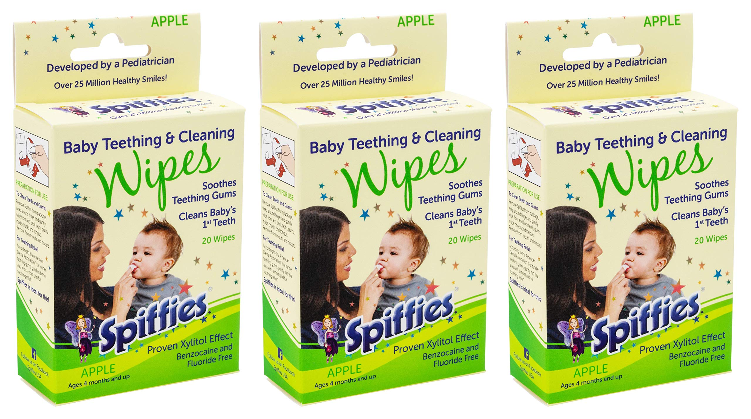Spiffies Tooth Wipes, Apple Flavor (Pack of 60) by Spiffies ToothWipes