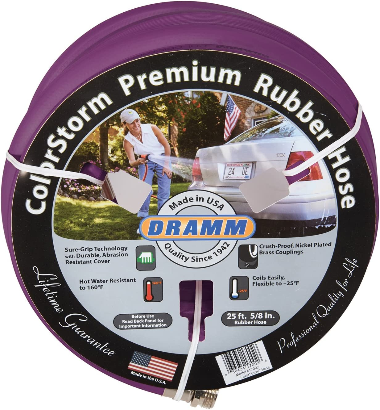 """Dramm 17106 ColorStorm Premium Rubber Hose 5/8"""" x 25' x25', Berry"""