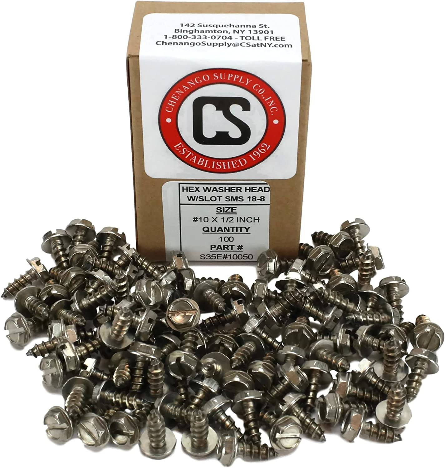 #10 x 1 1//2 Hex Washer Head Slotted Sheet Metal Screw Zinc Plated Set #RD-0898FST Warranity by Pr-Mch pcs Package of 250