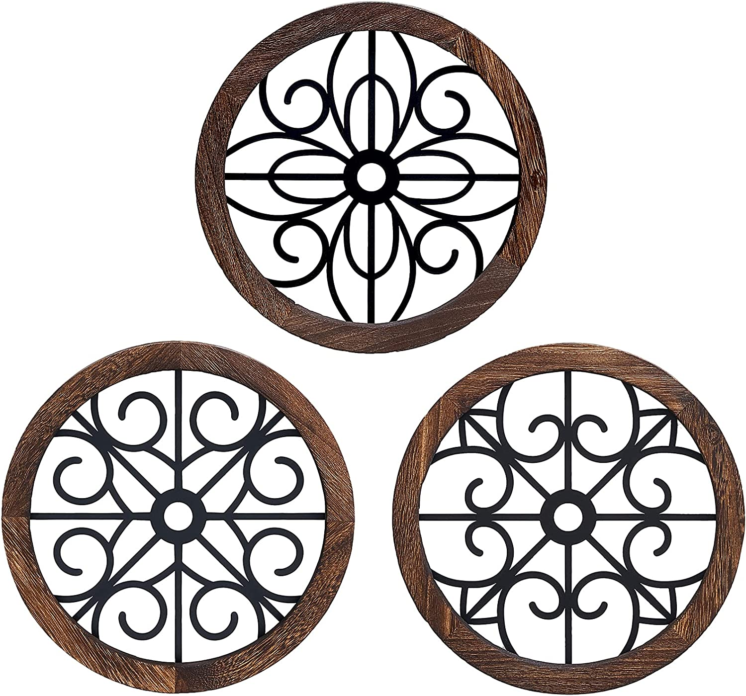 Mkono Small Rustic Wall Decor Round Wall Art Geometric Scrolled Metal with Wooden Frame Farmhouse Hanging Decoration for Home Apartment, Bedroom, Living Room, Dorm, 3 Pack