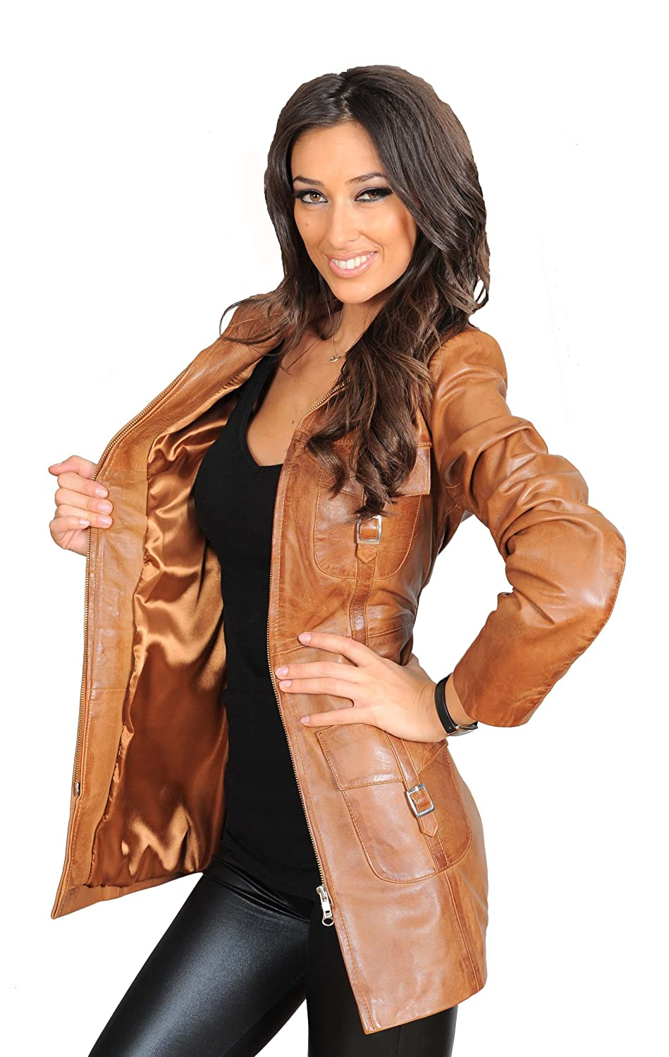 Womens Latest 3/4 Fitted Real Leather Coat Ladies Trendy Zip Up ...