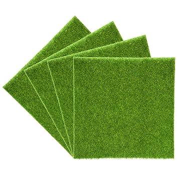 Yosoo - Alfombrilla de césped artificial, de plástico, embellecedor para interior y exterior,sintético de color verde, artículo decorativo, 4Pz 30*30cm: ...