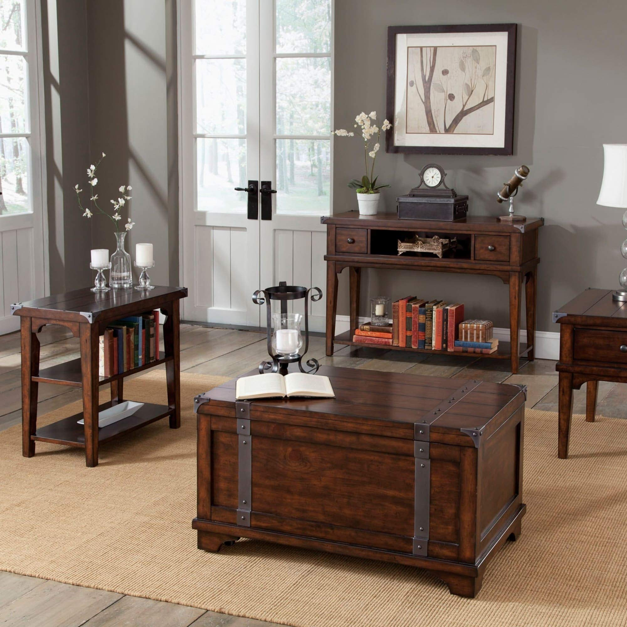 Aspen Skies Russet Brown and Metal Accents Storage Trunk Rustic Traditional Transitional Vintage Rectangle Pine Veneer Wood Finish Casters Hidden by Unknown