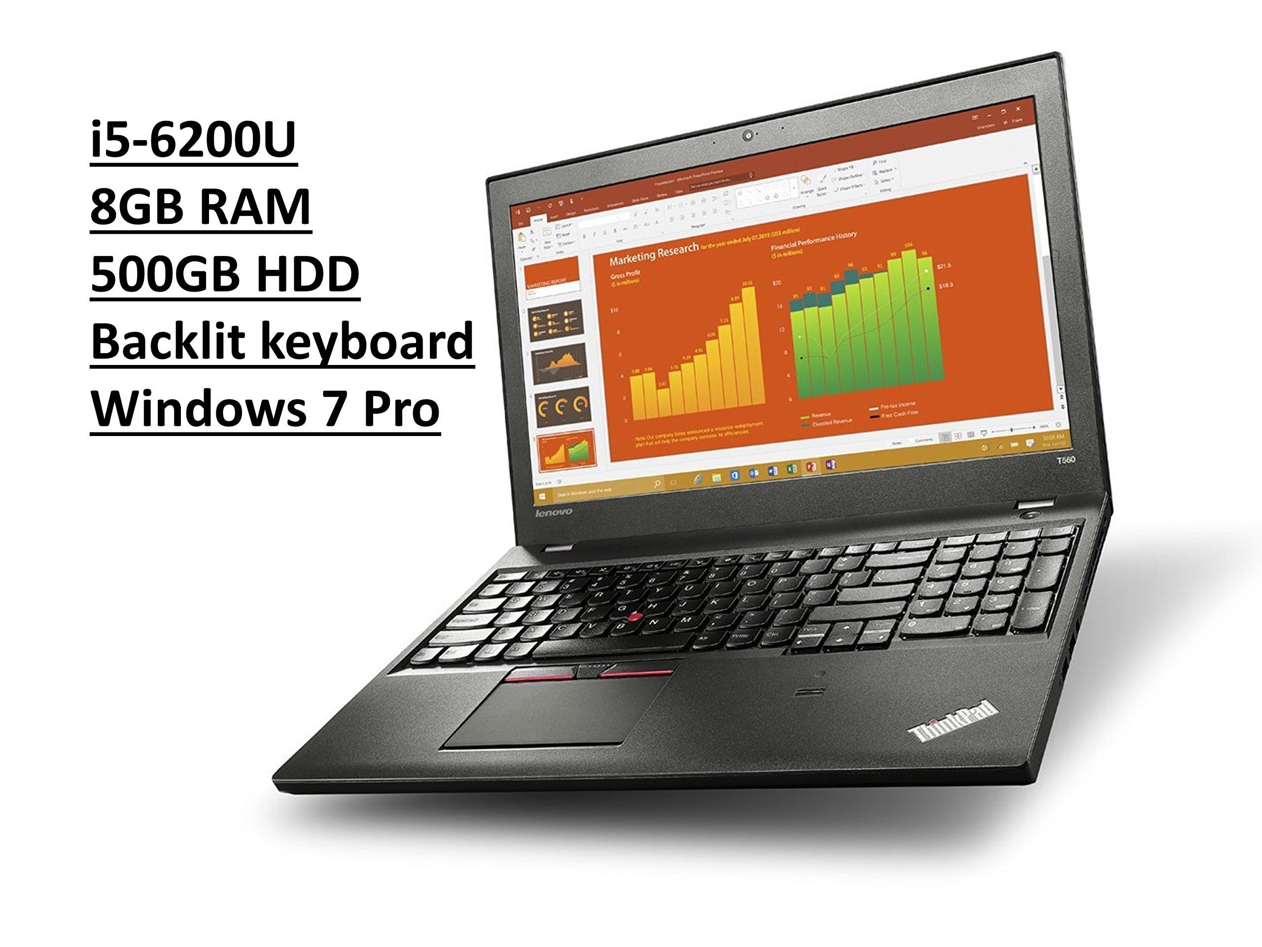 Lenovo ThinkPad T560 20FH 15.6'' Business Laptop: Intel Core i5-6200U | 8GB RAM | 500GB HDD | Backlit Keyboard | FingerPrint Reader | Windows 7 Professional upgradeable to Windows 10 Pro