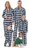PajamaGram Flannel Tartan Plaid Button-Front Matching Family Pajamas, Green