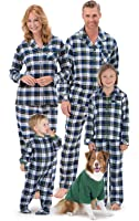 PajamaGram Flannel Tartan Plaid Button-Front Matching Family Pajamas, Green