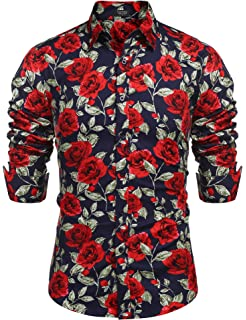 4e278ea9 COOFANDY Men's Rose Floral Print Casual Cotton Button Down Dress Shirt