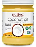 Nutiva Organic Coconut Oil with Butter Flavor from non-GMO, Steam Refined, Sustainably Farmed Coconuts, 14 Fluid Ounces