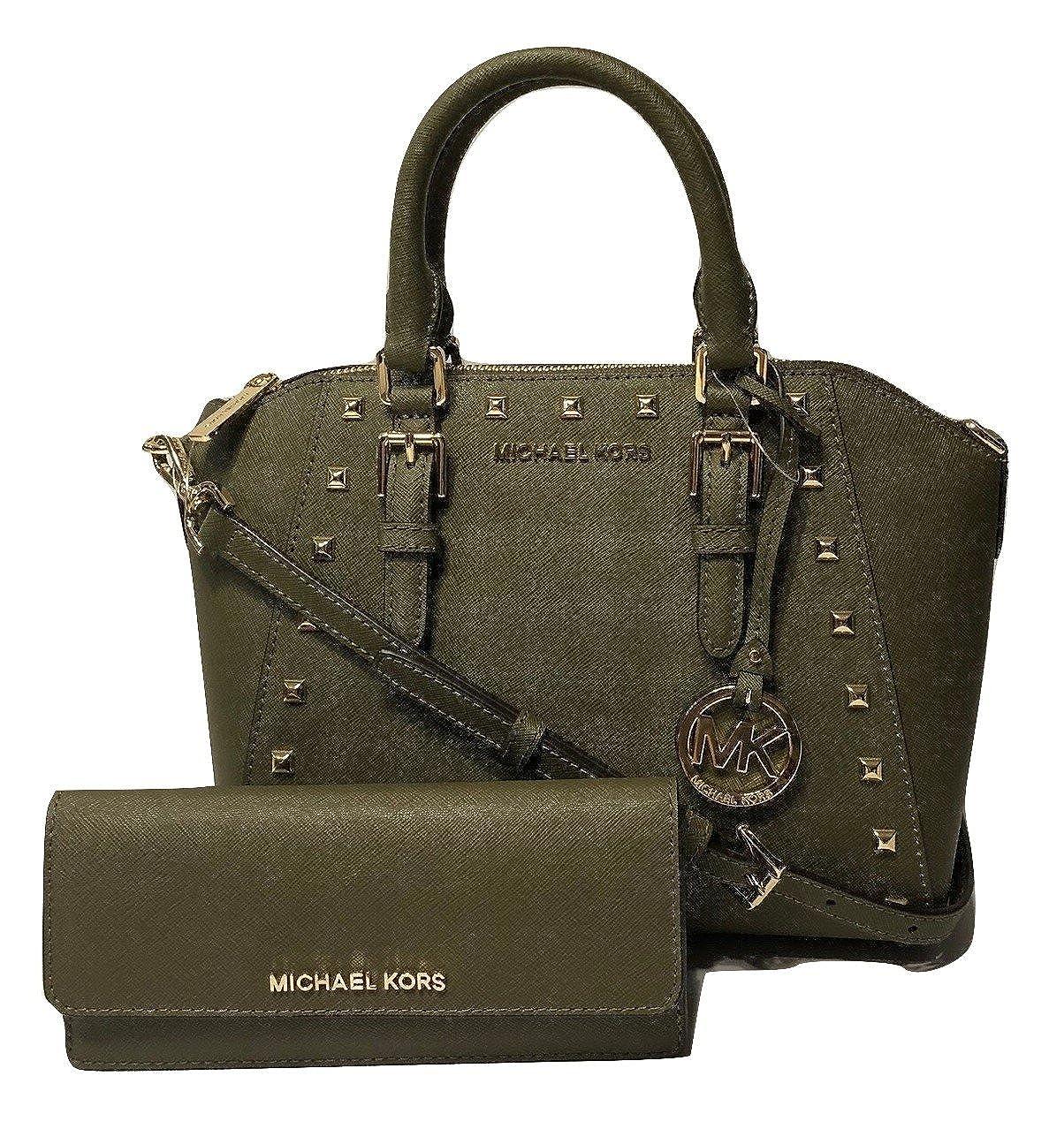 e927c6beba07 Michael Kors Ciara Studded MD Messenger Handbag bundled with Michael Kors  Jet Set Travel Flat Wallet (Olive)  Amazon.co.uk  Shoes   Bags