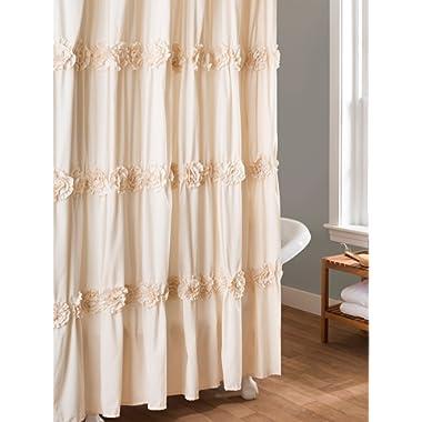 Lush Decor Darla Shower Curtain, 72 by 72-Inch, Ivory