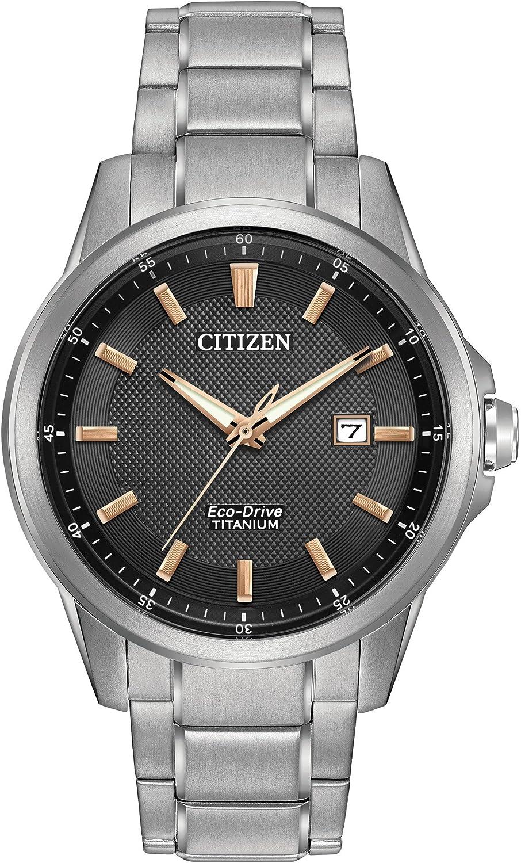 Citizen Men s Eco-Drive Titanium Watch with Date, AW1490-50E