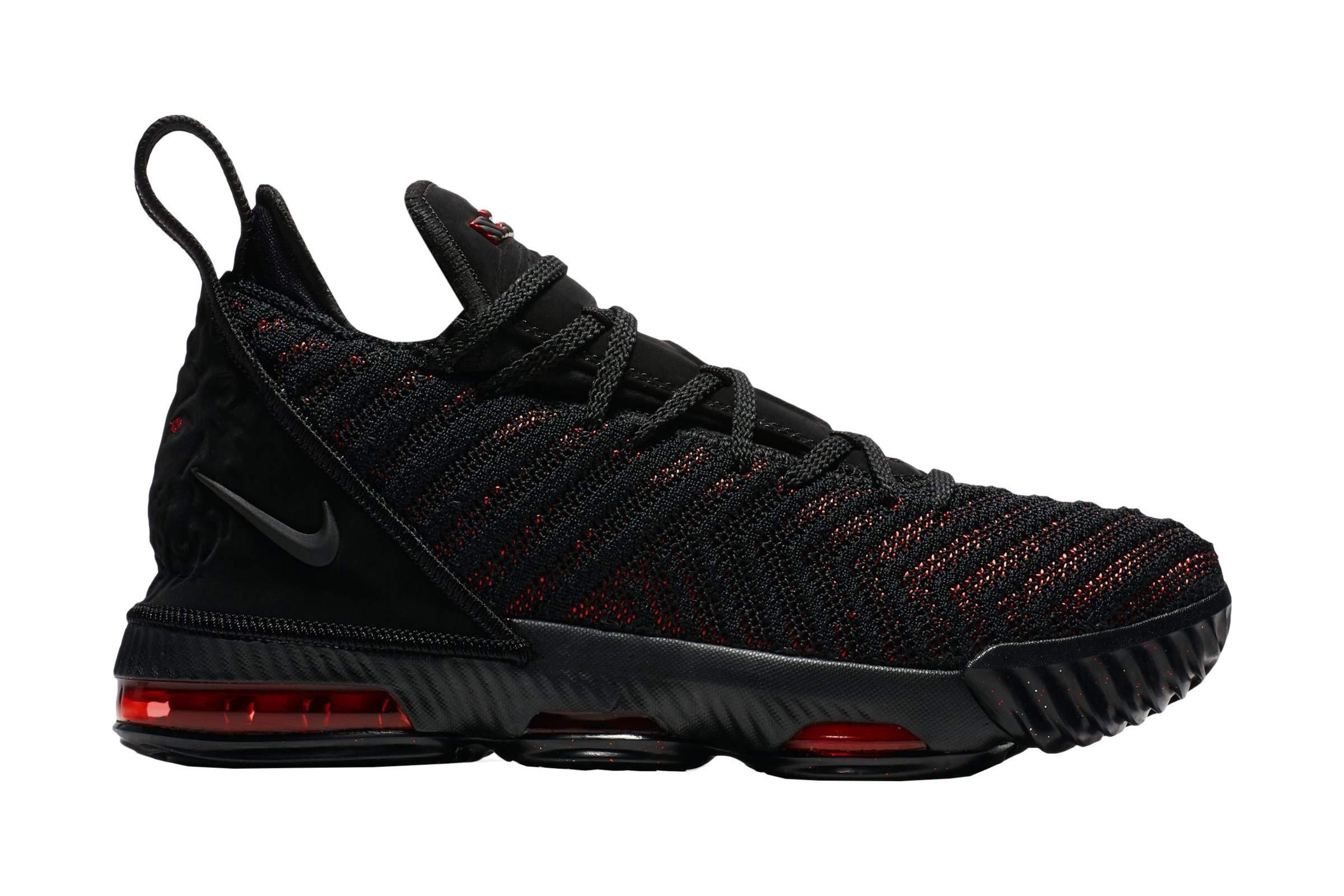 Nike Kids Lebron XVI GS, Black/Black-University RED, Youth Size 7 by Nike
