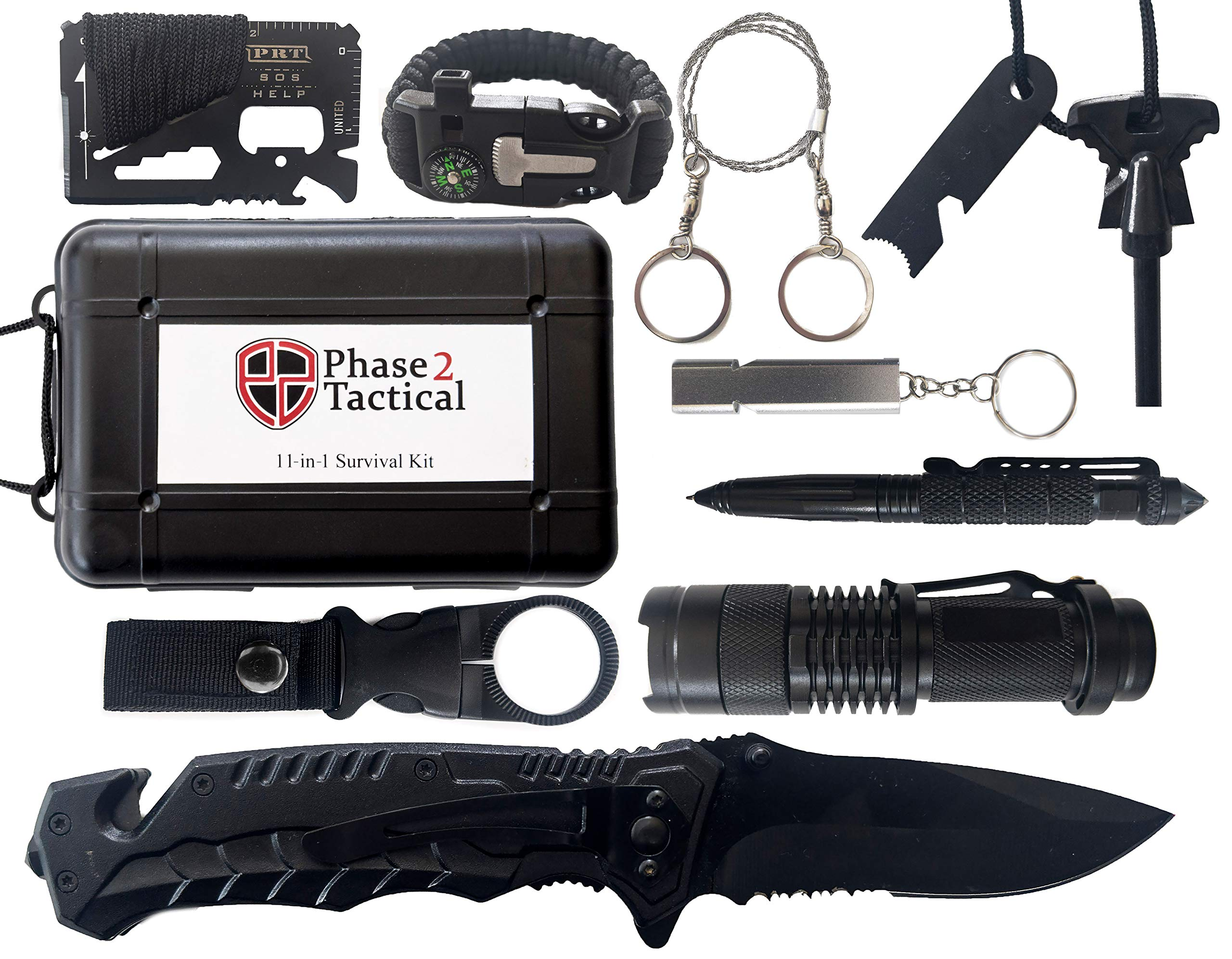 Phase 2 Tactical 11-in-1 Survival Kit - Outdoor Emergency Gear & Gadgets for Any Situation - Great for Camping, Hiking, Hunting, Fishing, Emergencies & More by Phase 2 Tactical