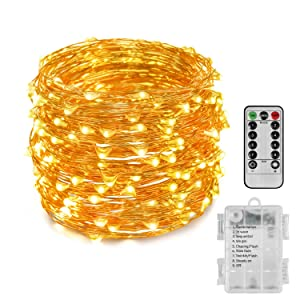 Fairy Lights, 66ft 200 LED Outdoor String Lights, Waterproof Battery Operated Copper 8 Lighting Modes, Chirstmas Party Bedroom Garden(Warm White)