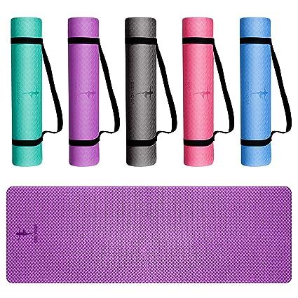 EssVita Premium Colchoneta de Yoga 6mm Espesor (183 * 61 * 0.6 cm) Suave Antideslizante Aptitud Ejercicio Estera Con Correa de Transporte
