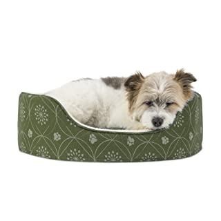 Furhaven Pet Dog Bed   Round Oval Cuddler Paw Print Décor Flannel Nest Lounger Pet Bed for Dogs & Cats, Jade Green, Medium