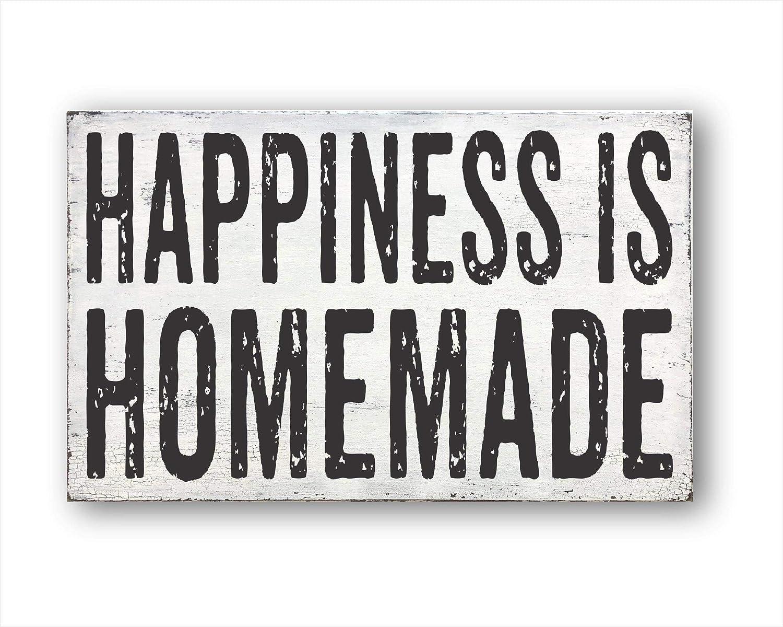 DKISEE Happiness Is Homemade decoración rústica para el hogar, regalo de inauguración de la casa, cartel decorativo de madera – decoración de pared de granja, madera, 1 color, 5.9