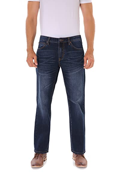 Indigo alpha Stretch Regular Classic Straight Fit Blue Stonewash Denim Jeans for Men