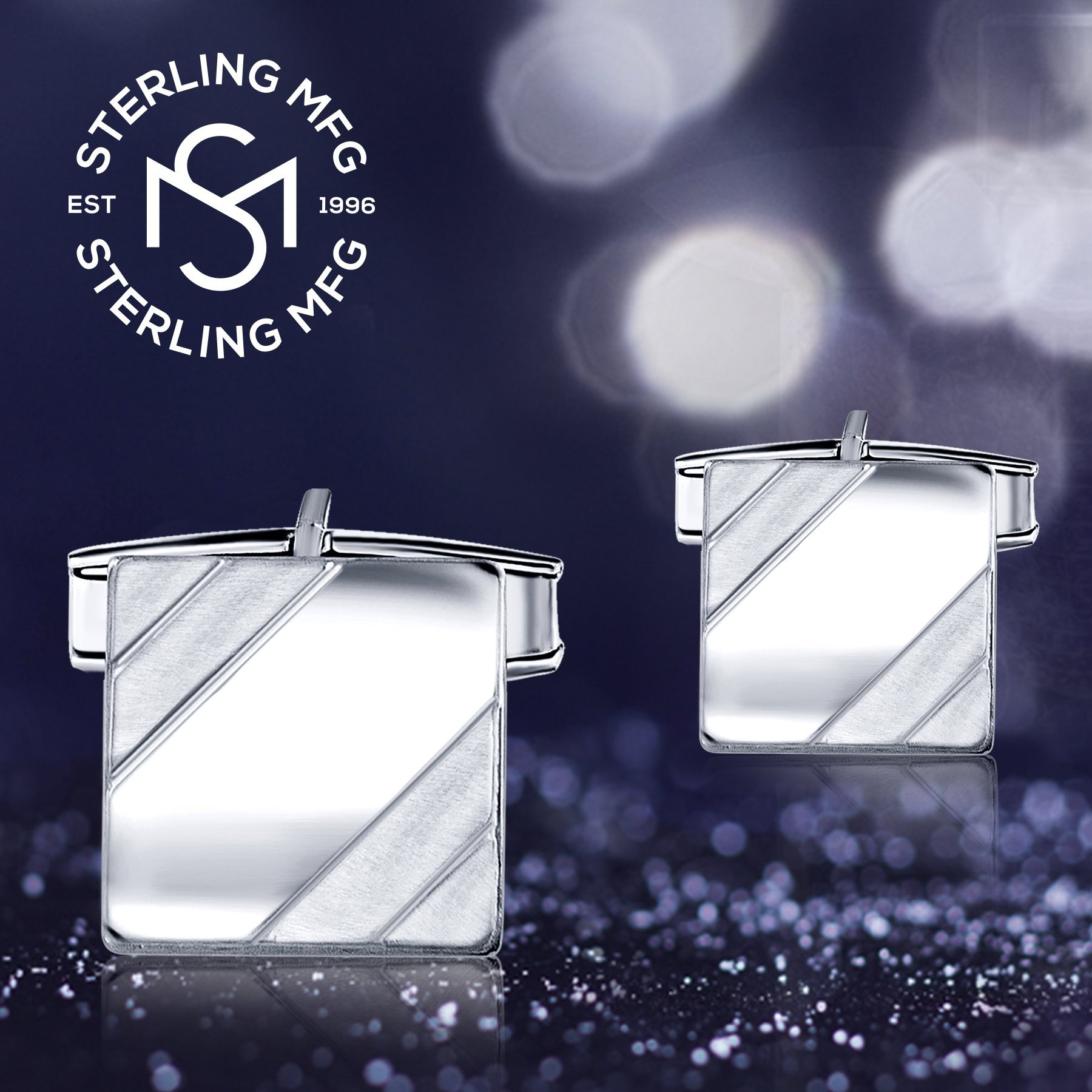 Men's Sterling Silver .925 Square Cufflinks with Satin Finish Accents in Two Corners, Engravable. Made In Italy. 14mm by Sterling Manufacturers (Image #5)
