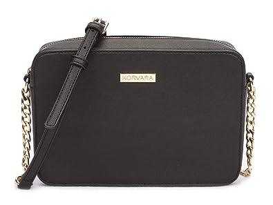 e751759dfc6b Korvara Saffiano Crossbody Bag - Womens Vegan Saffiano Leather Top Zip  Handbag
