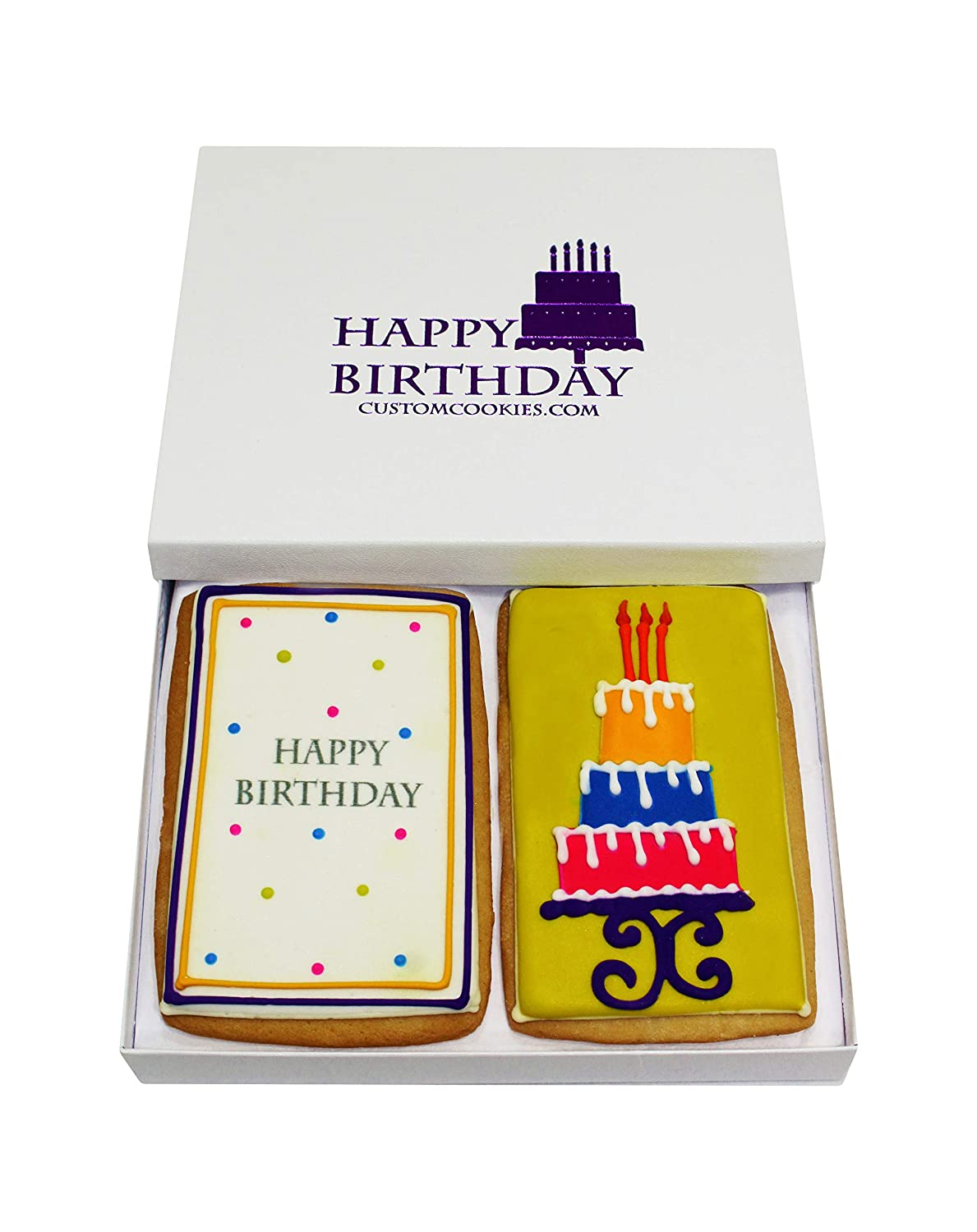 Gourmet Happy Birthday Cookie Gift Basket | 2 Large 2.5 x 4.5 in Vanilla Sugar Cookies Hand-Decorated Snack Variety Pack | Kosher B-Day Bakery Care Package For Women, Men Boys & Girls | Prime Delivery