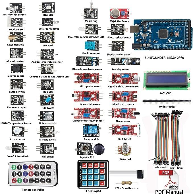SunFounder - Nuevo mega 2560 r3 + 37 modulos arduino kit sensor ...