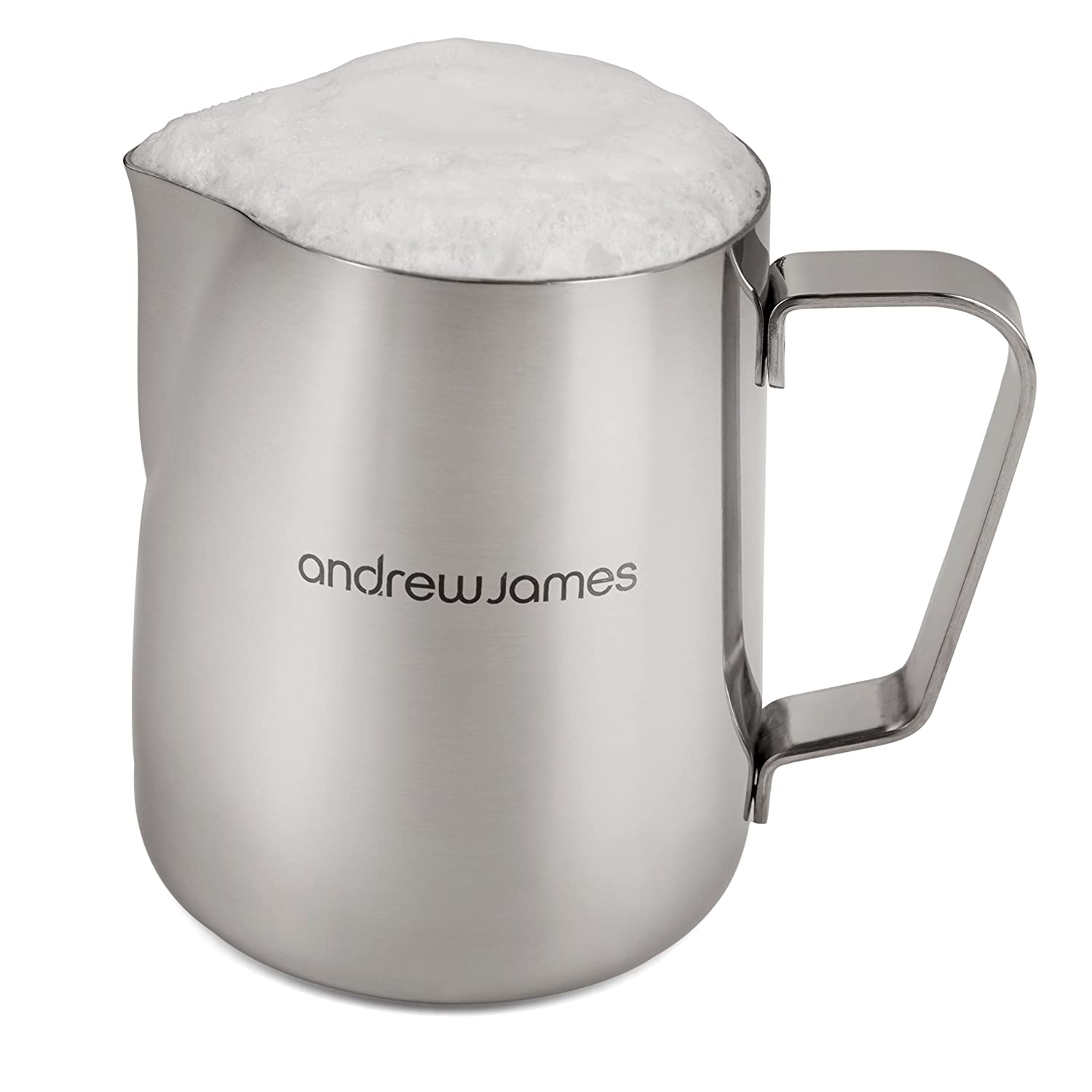 andrew james l ml stainless steel coffee frothing milk jug  - andrew james l ml stainless steel coffee frothing milk jug forlattes amazoncouk kitchen  home