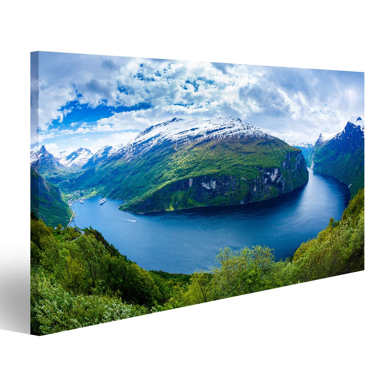 Fjorde v2 Panorama Format Bild auf Leinwand Poster Wandbilder