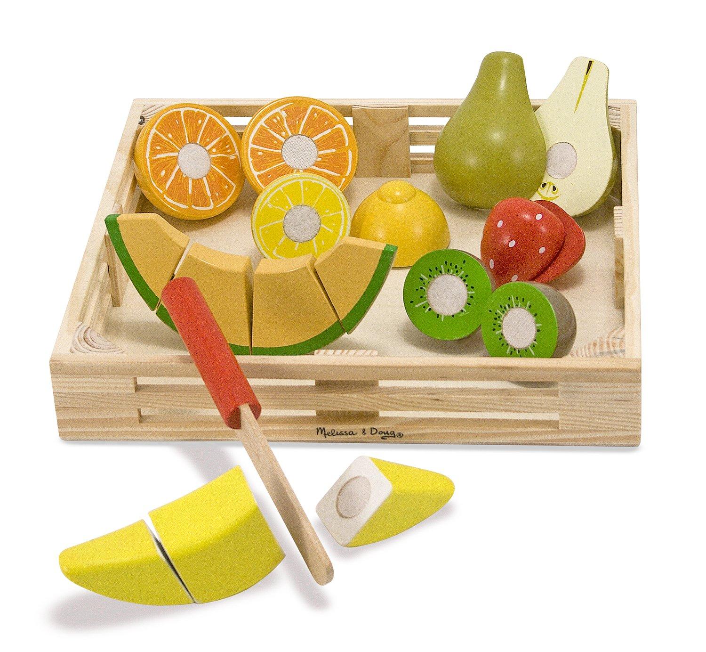 melissa doug cutting fruit set wooden play food kitchen