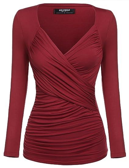 e491885329951f Zeagoo Damen V-Ausschnitt Langarmshirt Tunika Bluse Obertail T-Shirt mit  Rüschen Weinrot-