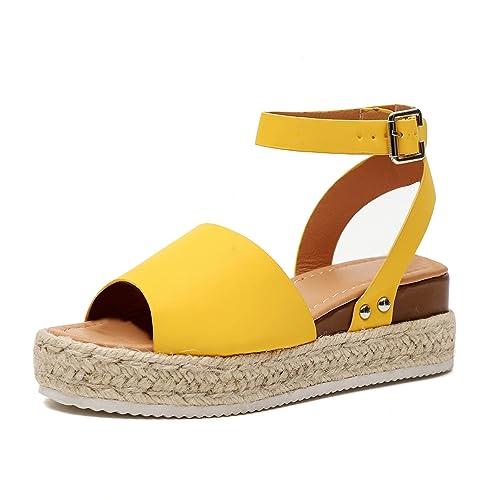 Sandalias Cuña Mujer Tacon Plataforma Verano Peep Toe Abierto Alpargatas Playa Gladiador Tacón 6cm Zapatos de Vestir Negro Amarillo Leopardo 35-43: ...