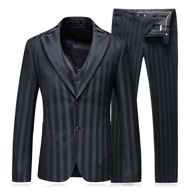 Mens Dress Stripe Slim Fit Suits 2 Button 3 Piece Suits US Size 36 (Label Size 52) Green by MOGU