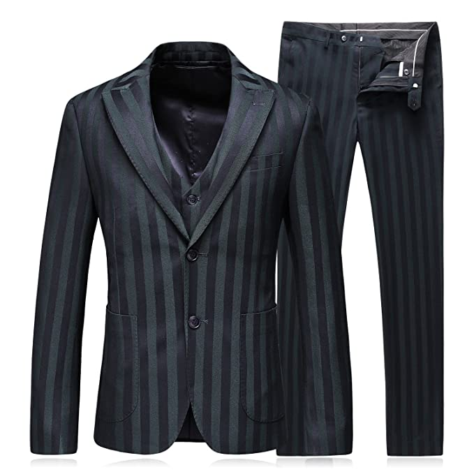 Amazon.com: Mens vestido rayas Slim Fit Suits botón 2 3 ...
