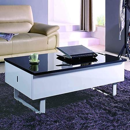 Decoinparis Table Basse Multifonction Laquee Noir Et Blanc Malindo