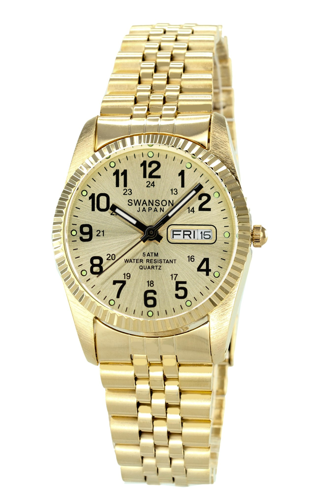 Swanson Japan Men's Gold Tone Day-Date Gold Dial with Military Numbers Watch with Travel Case