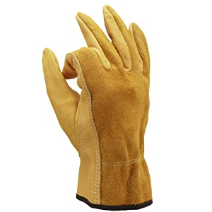 OZERO Gardening Gloves, Flexible and Extra Grip Leather for Utility Work, Construction, Wood Cutting, 1 Pair Pack (Golden,Medium)