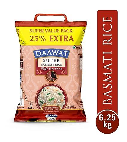 Daawat Super Basmati, 5kg with Free 25 Percent Extra