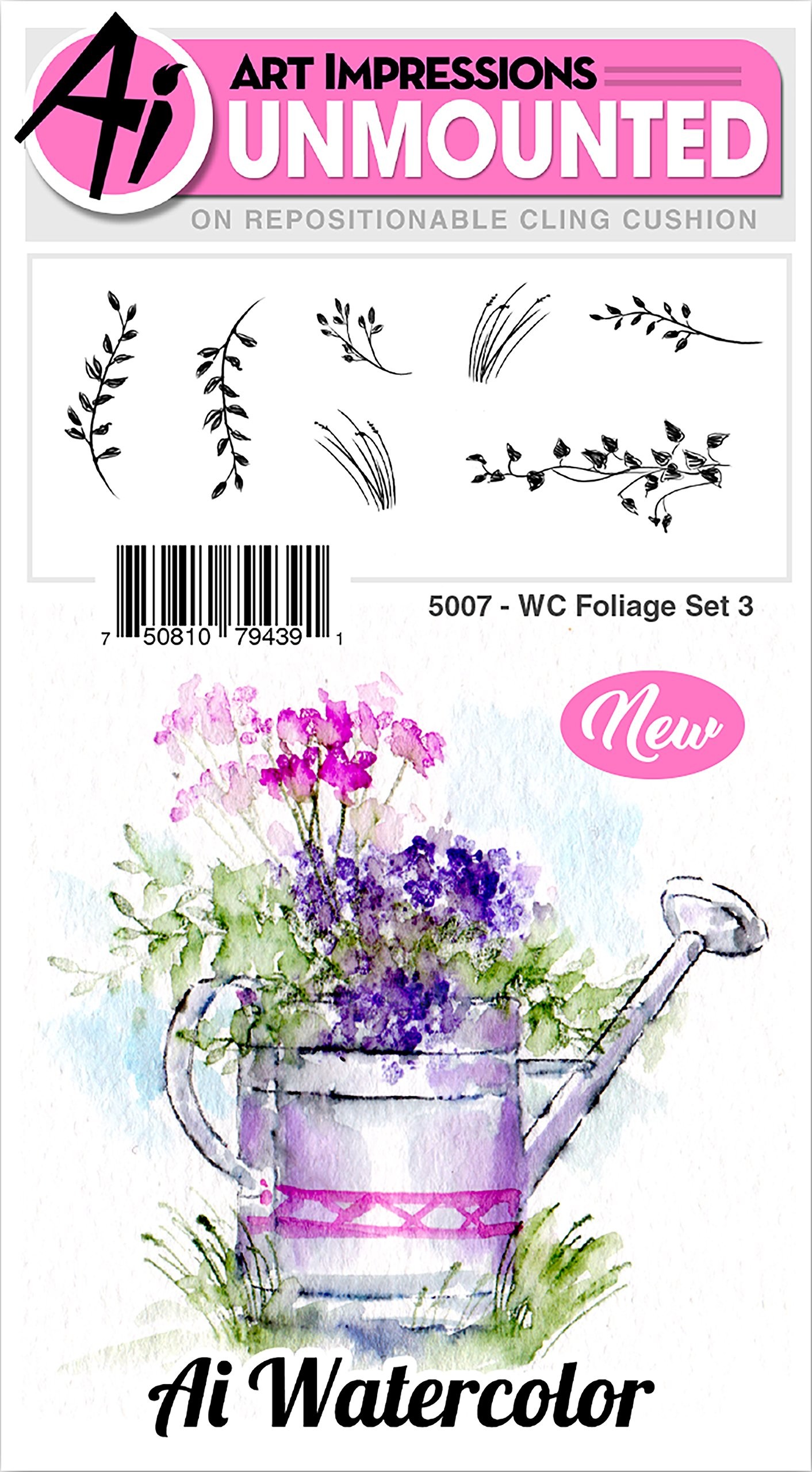 Art Impressions 5007 Watercolor Cling Rubber Stamp, Multicolor