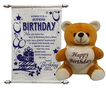 9b4477f2fa16 Buy Saugat Traders Birthday Gift Combo - Happy Birthday Soft Teddy with  Birthday Scroll Card Online at Low Prices in India - Amazon.in