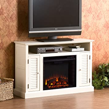 50u0026quot; Electric Fireplace With Cabinet , TV Media Stand Console   White  Fireplace Media Stand