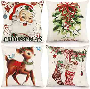 Cdwerd Christmas Throw Pillow Covers 18x18 Inches Vintage Farmhouse Christmas Decorations Pillowcase Cotton Linen Cushion Case For Home Decor Set Of 4 Home Kitchen