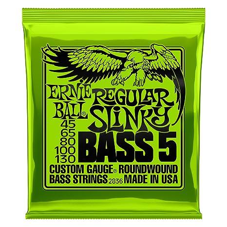 Ernie Ball Regular Slinky Cuerdas para bajo eléctrico de 5 cuerdas con entorchado de níquel -