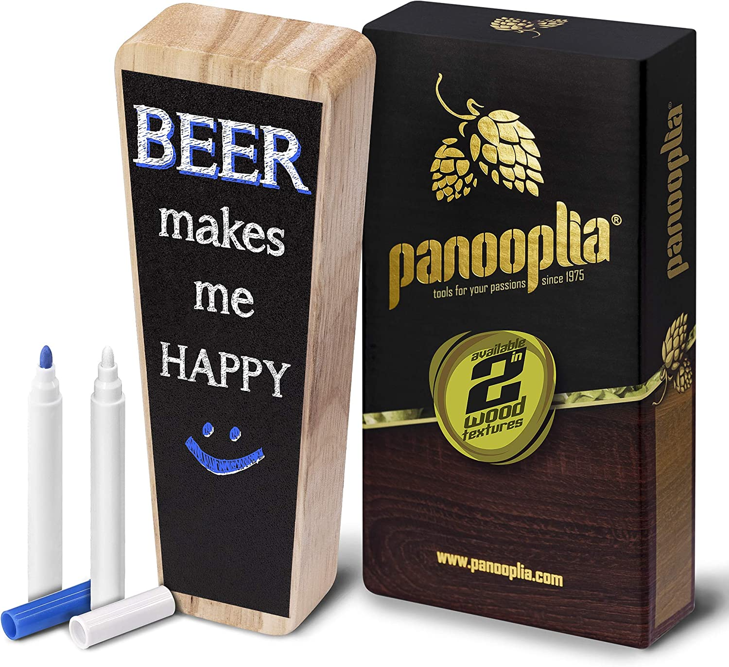 Beer Tap Handle and Two Liquid Chalk Markers Set - Wooden Keg Tap Handle for Standard Faucets and Kegerators with Reusable Chalkboard - Suitable for Home Brew, Bars, Kegs and Draft Beer (Oak)