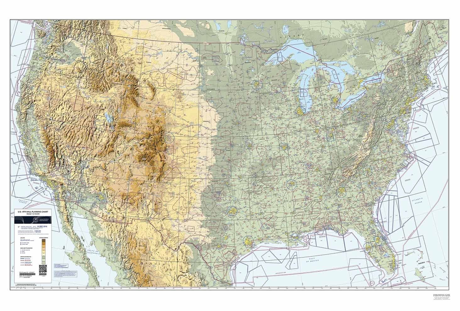 Amazoncom FAA Chart US VFR Wall Planning Chart Flat VFRWPC - Faa map of us after 9 11