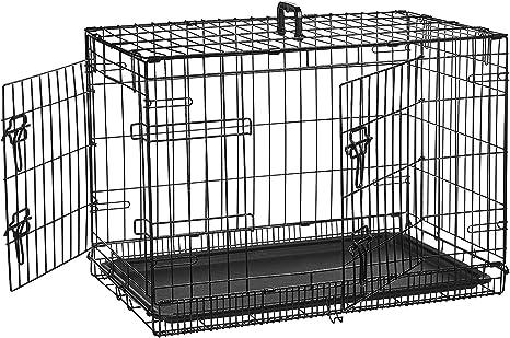 AmazonBasics - Jaula plegable de metal para mascota (dos puertas, 76 cm largo)