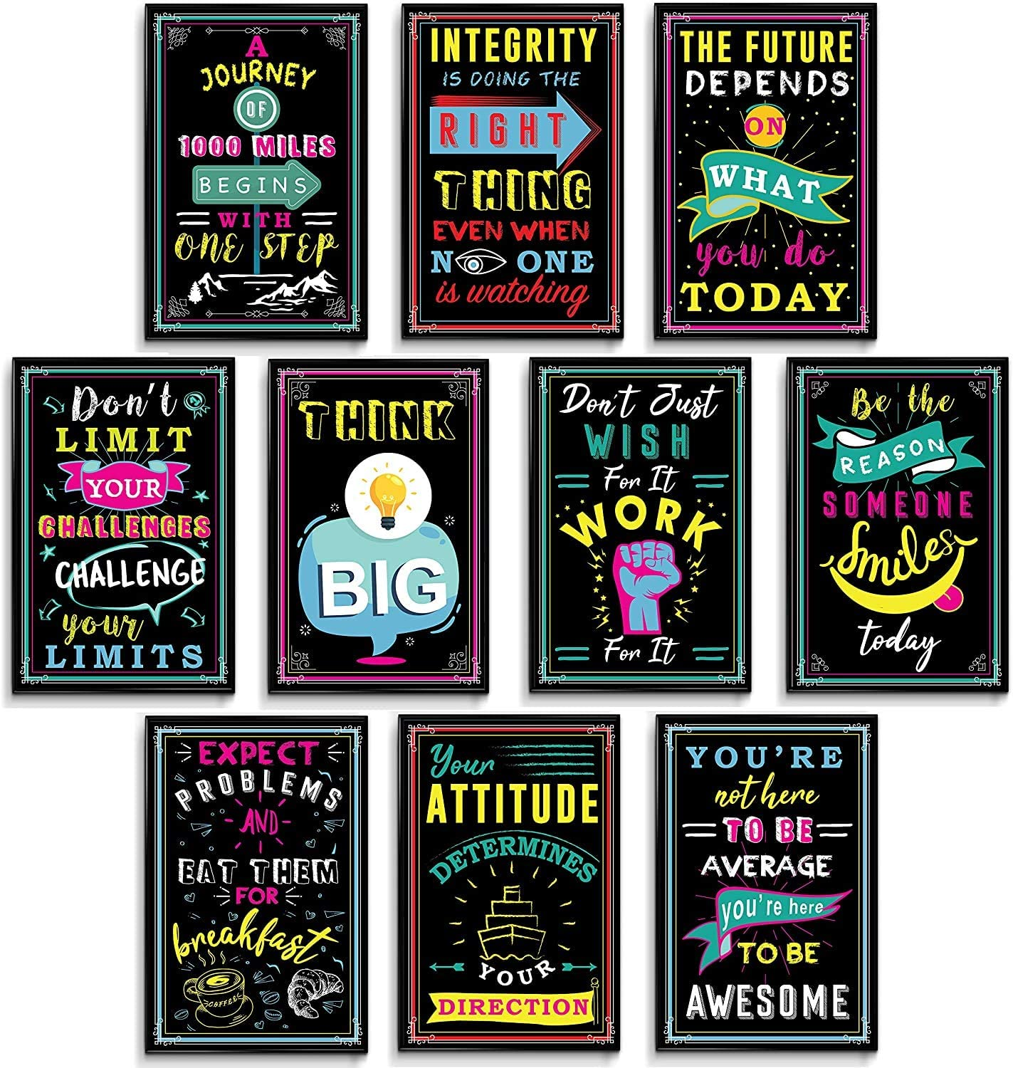 Motivational Posters for Classroom, Inspirational Posters for Teens, Classroom Posters, Office Decorations, Motivational Posters for Office, Inspirational Quote Wall Art Set of 10 Prints 11x17 in.